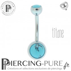 Piercing Titane interne Bleu argent et Turquoises naturelles