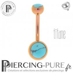 Piercing Titane interne Rose Doré et Turquoises naturelles