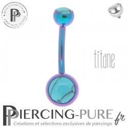 Piercing Titane interne Blurple et Turquoises naturelles