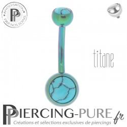 Piercing Titane interne Vert et Turquoises naturelles