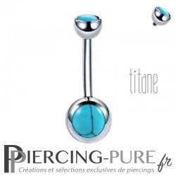 Piercing Titane interne avec Turquoises naturelles
