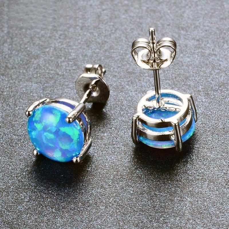 boucle d 39 oreille acier et opale bleue piercing pure. Black Bedroom Furniture Sets. Home Design Ideas
