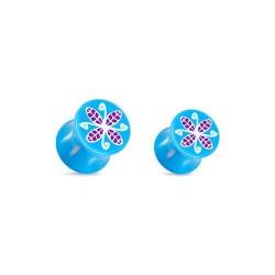 Plug fleur bleue Acrylique