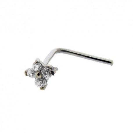 Piercing Nez Or blanc 18K fleur de cristaux