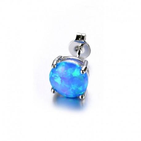 Boucle d'oreille Acier et Opale bleue