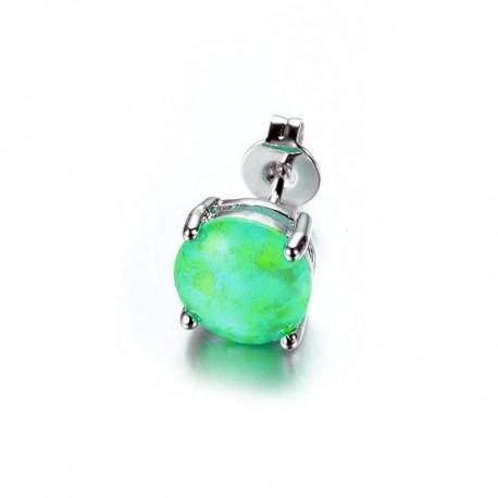 Boucle d'oreille Acier et Opale verte