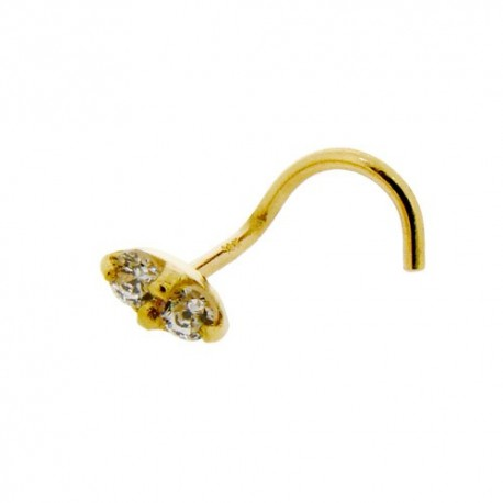 Piercing Nez Or jaune 14K double Cristaux griffés