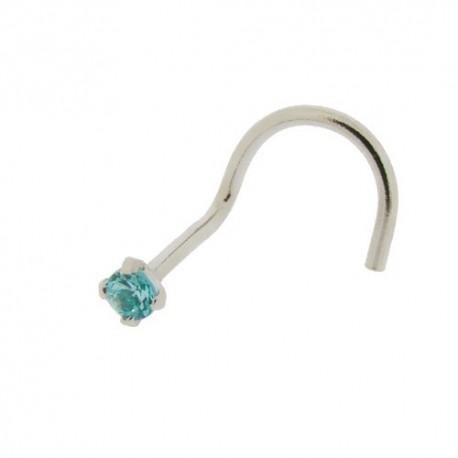 Piercing Nez Or blanc 14K Cristal bleu griffé