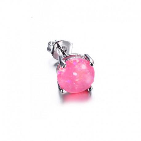 Boucle d'oreille Acier et Opale rose