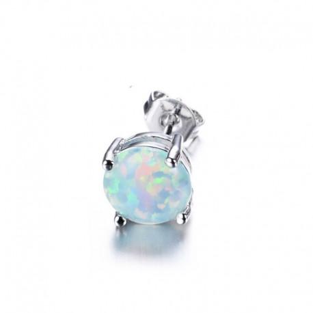 Boucle d'oreille Acier et Opale blanche