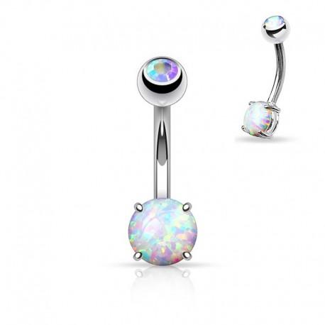 Piercing Nombril Opale blanche et Cristal blanc irisé