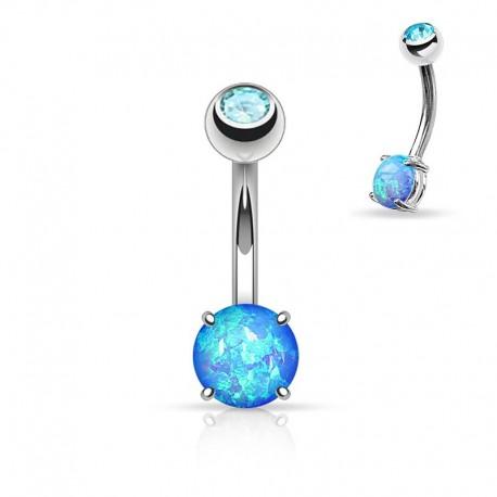 Piercing Nombril Opale bleue et Cristal bleu