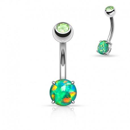 Piercing Nombril Opale verte et Cristal vert
