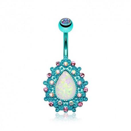 Piercing Nombril turquoise goutte d'Opale sertie de Cristaux