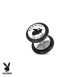 Faux Piercing Plug Acier lapins noirs Playboy® fond blanc