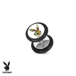 Faux Piercing Plug Acier lapin Playboy® graphique blocs