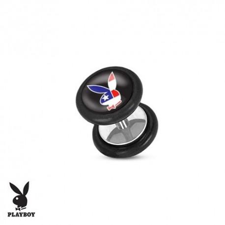 Faux Piercing Plug Acier lapin drapeau américain Playboy®
