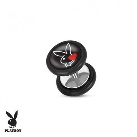 Faux Piercing Plug Acier lapin noir Playboy® coeur