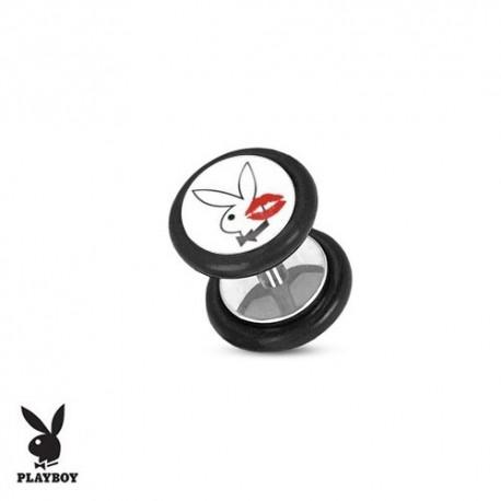 Faux Piercing Plug Acier lapin blanc Playboy® bisou