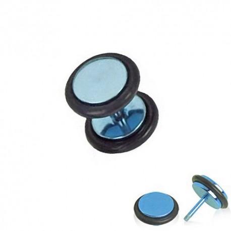 Faux Piercing Plug Acier anodisé bleu