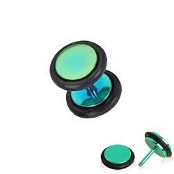Faux Piercing Plug Acier anodisé vert