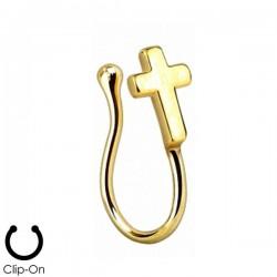 Faux Piercing Nez Plaqué-or croix