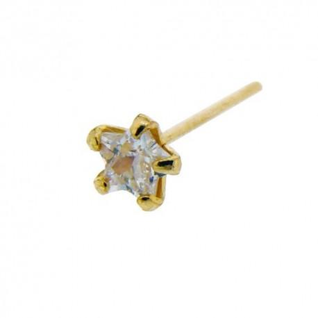 Piercing Nez Or jaune 9K étoile de Cristal griffé