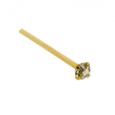 Piercing Nez Or jaune 9K Cristal discret griffé