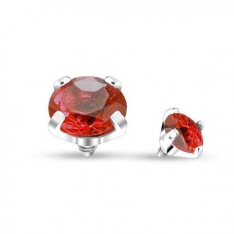 Microdermal Cristal griffé rouge 4mm