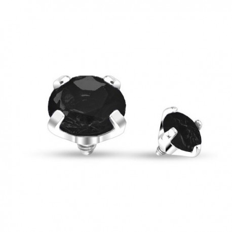 Microdermal Cristal griffé noir 4mm