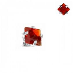 Microdermal carré Cristal rouge griffé 3mm