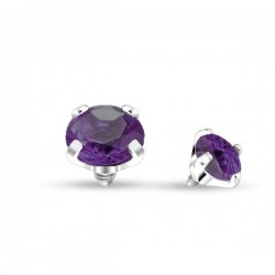 Microdermal Cristal violet foncé griffé 3mm