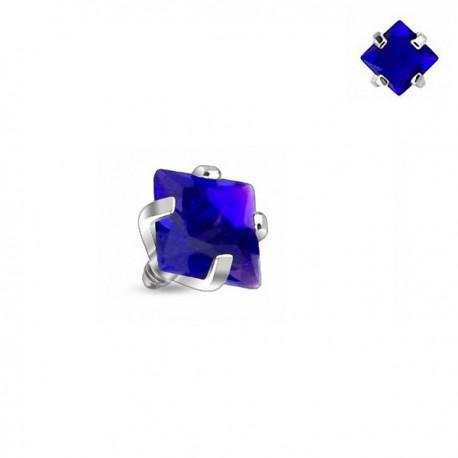 Microdermal carré Cristal bleu griffé 3mm