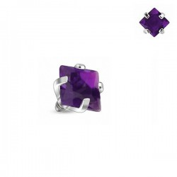 Microdermal carré Cristal violet griffé 3mm