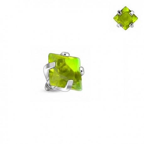 Microdermal carré Cristal vert griffé 3mm