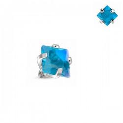 Microdermal carré Cristal turquoise griffé 3mm