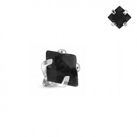 Microdermal carré Cristal noir griffé 3mm
