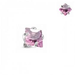 Microdermal carré Cristal rose griffé 3mm