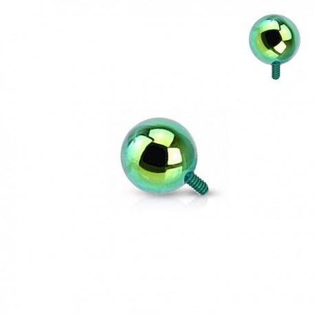 Microdermal bille Acier plaqué Titane vert 2,5mm