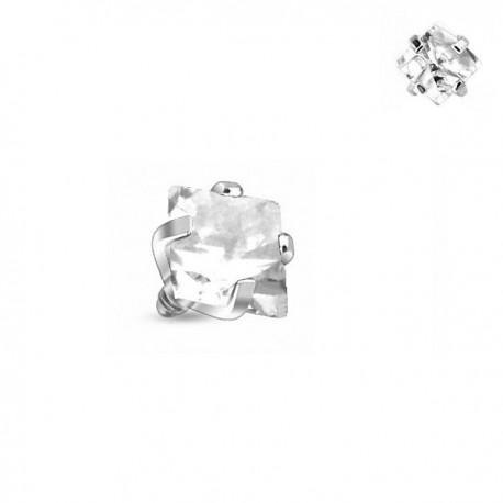 Microdermal carré Cristal blanc griffé 3mm