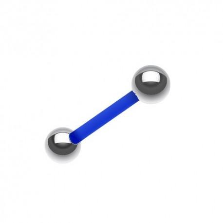 Piercing Langue Flexible bleu billes Acier