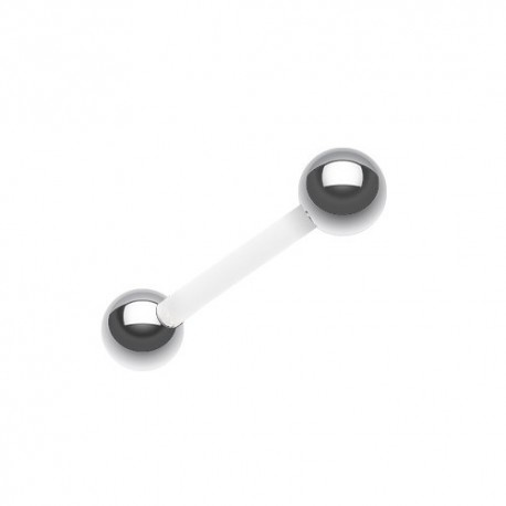 Piercing Langue Flexible blanc billes Acier
