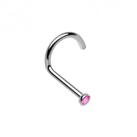 Piercing Nez Titane Cristal rose