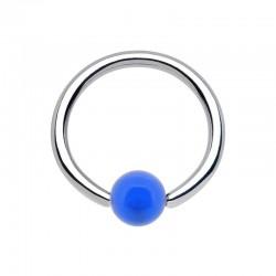 Anneau 1,6mm Acier bille Acrylique bleue