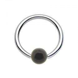 Anneau 1,6mm Acier bille Acrylique noire