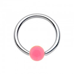 Anneau 1,6mm Acier bille Acrylique rose
