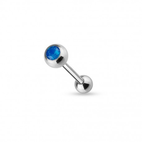 Piercing Langue Acier Opalite bleue