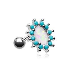 Piercing Cartilage Acier Opale ovale et Turquoises