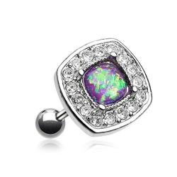 Piercing Cartilage Acier Opale carrée violette et Cristaux