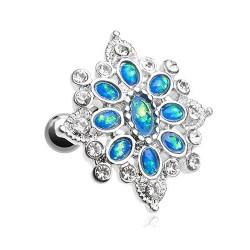 Piercing Cartilage Acier multi-Opales bleues et Cristaux